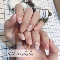 圆形日式粉色白色裸色金箔金属饰品美甲图片