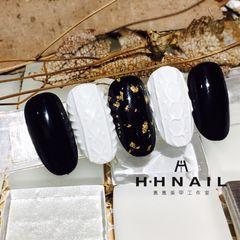 圆形简约日式金色黑色白色金箔毛衣纹编织毛衣美甲美甲图片