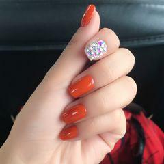 方圆形简约橙色南瓜色美甲今年流行的南瓜🎃色😍美甲图片