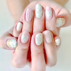 圆形粉色白色豹纹心形毛衣纹美甲图片