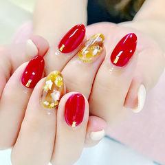 圆形红色橙色白色琥珀日式金箔贝壳片美甲图片