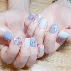 方圆形紫色白色金银线贝壳片美甲图片