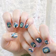 方圆形蓝色珍珠金属饰品贝壳片磨砂美甲图片