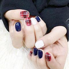 圆形红色蓝色白色格纹毛衣纹美甲图片
