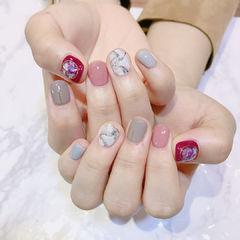 方圆形粉色白色灰色红色石纹贝壳片美甲图片