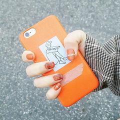 方圆形简约韩式黑色橙色格纹南瓜色美甲南瓜色美甲图片