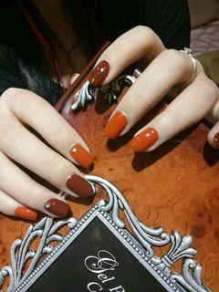 方圆形简约韩式橙色棕南瓜色显白显手白专题南瓜色美甲美甲图片