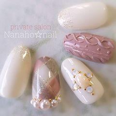 方圆形日式雕花粉色白色毛衣纹菱形美甲图片
