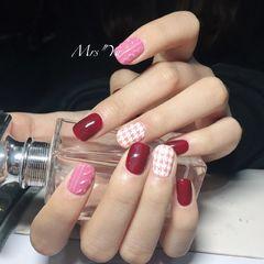 简约雕花红色粉色白色方圆形毛衣纹千鸟格毛衣印章美甲图片