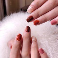 方圆形简约韩式棕焦糖色 贝壳美甲图片