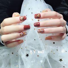 方形日式焦糖色贝壳片金属饰品达人Y.Y美甲焦糖色,贝壳片,拼钻,金属饰品美甲图片