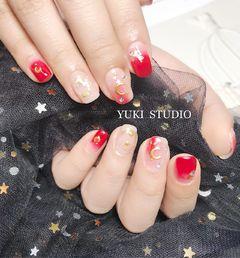 方圆形红色裸色渐变金属饰品星月2018预热款星月美甲美甲图片