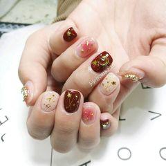 方圆形日式红色粉色裸色金属饰品星月星月美甲金属饰品美甲改良版的\\\\美甲图片
