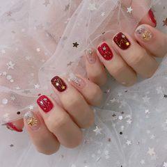 方圆形新娘日式红色金色银色星月美甲星月美甲图片