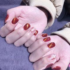 日式红色方圆形猫眼贝壳片金箔猫眼晕染贝壳闪金箔纸美甲图片