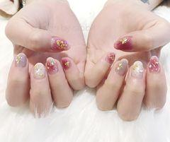 圆形日式可爱红色粉色金色金属饰品星月美甲图片