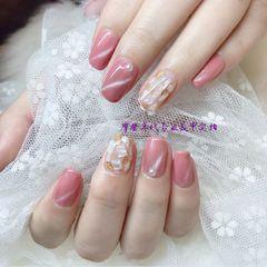 方圆形日式粉色猫眼贝壳片金箔粉色猫眼、贝壳、金箔纸、珍珠美甲图片