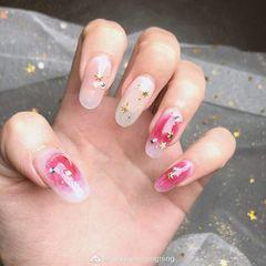 粉色圆形裸色日式金属饰品星月日式星月腮红来源:微博:@sususuningnigning美甲图片
