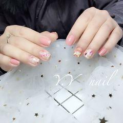 方形日式粉色贝壳片金箔钻新娘贝壳片,金箔,钻饰美甲图片