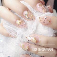 圆形裸色日式金属饰品星月来源:小红书@倾馨日式美甲美睫美甲图片