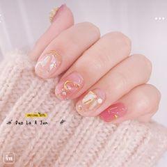方圆形日式粉色银色白色贝壳片星月仙女贝壳粉美甲图片