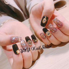方圆形日式韩式紫色黑色贝壳片钻金箔贝壳 钻饰美甲图片