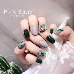 方形日式绿色黑色灰色贝壳片金箔金箔美甲美甲图片