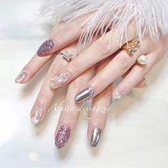 尖形日式紫色银色贝壳片金箔贝壳混搭!💜🐚美甲图片