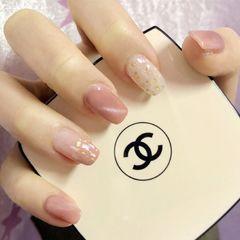 方形简约韩式粉色猫眼贝壳片上班族粉色猫眼款美甲图片