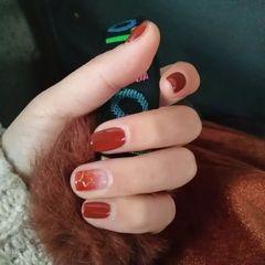 方圆形渐变韩式红色橙色南瓜色🎃渐变也好看美甲图片
