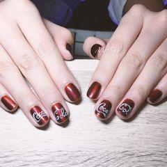手绘红色方圆形可乐可乐美甲可口可乐美甲图片