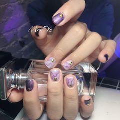 简约紫色方圆形晕染短指甲美甲图片