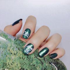 方形手绘绿色夏天可乐可乐美甲绿可乐!美甲图片
