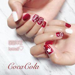 方圆形简约可爱红色白色手绘夏天可乐可乐美甲可口可乐美甲图片