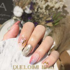 圆形日式手绘粉色银色白色金箔水波纹#水波纹#美甲图片
