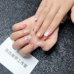 方圆形渐变韩式蓝色粉色白色水波纹碎玻璃水波纹,渐变,玻璃纸美甲图片