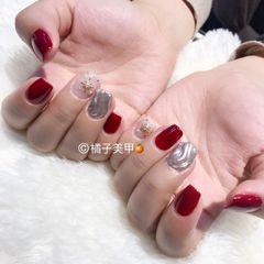 方圆形日式手绘红色金色银色水波纹水波纹美甲图片
