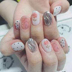 圆形粉色银色花朵金属饰品水波纹波点日式美甲图片