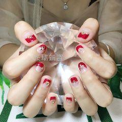 日式红色圆形钻新娘反法式短指甲美甲图片