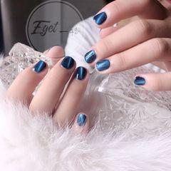 方圆形简约韩式蓝色猫眼短指甲美甲图片