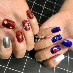 方圆形手绘红色蓝色白色银色夏天可乐可口可乐 百事可乐美甲图片