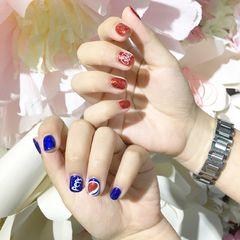 方圆形红色蓝色夏天手绘可乐可乐美甲图片