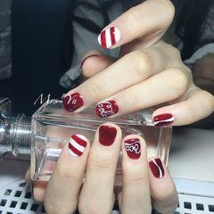 简约手绘红色白色方圆形夏天可乐短指甲短指甲专题可口可乐美甲图片