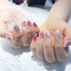 圆形日式粉色白色星月美甲图片