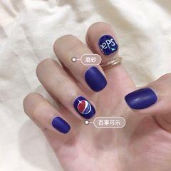 方圆形简约可爱蓝色夏天可乐磨砂店铺热门爆款可乐美甲美甲图片