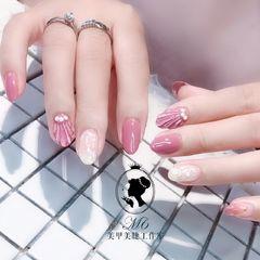 尖形日式渐变粉色白色裸色情人节美甲#贝壳 #星月美甲图片