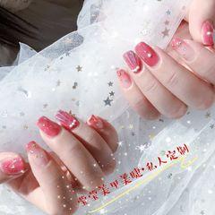 方圆形日式手绘紫色粉色贝壳星月星月搭配贝壳美甲图片