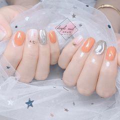 方圆形简约橙色猫眼银色水波纹南瓜色+水波纹 美甲图片