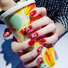 方圆形红色白色手绘夏天可乐显白美甲图片