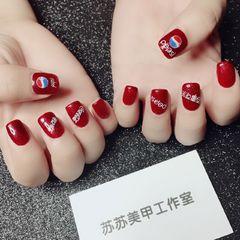方形简约红色夏天可乐钻石红,网红可乐款美甲图片
